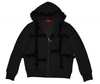 Hugo Boss Red Label - Black Full Zip Hoodie with Fur details