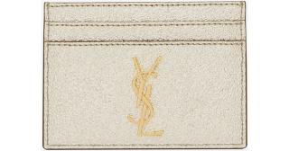 YSL Monogram Credit Card Case In Gold Grained Leather