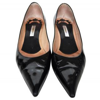 Pollini Black Patent Leather Kitten Heels