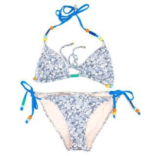 Stella McCartney Grey and White Fruit Print Triangle Bikini