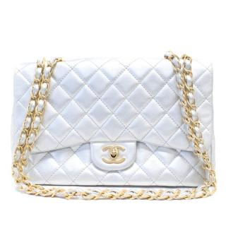 Chanel Silver Large Classic Flap Bag