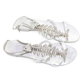 Giuseppe Zanotti Silver Fishbone Sandals