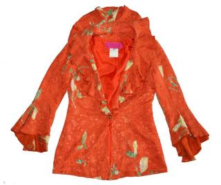 Christian Lacroix Paris Silk Flora ruffle Jacket