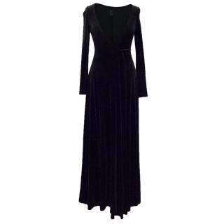 Nicole Farhi Black Velvet Wrap Maxi Dress