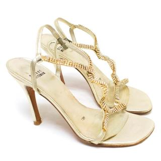 Stuart Weitzman Gold Crystal Embellished Sandals