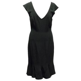 Ozbek Black V-Neck Evening Dress