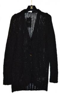 Saint Laurent black oversized grunge wool cardigan
