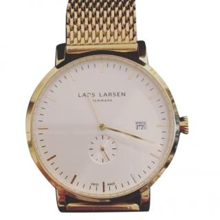 Lars Larsen Mens Sebastian Gold Plated Bracelet Watch