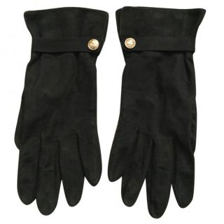 Chanel Black Suede Gloves