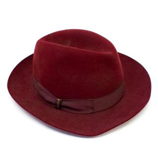 Borsalino Maroon Fedora Hat