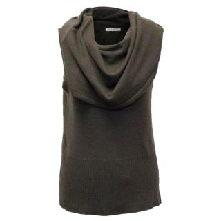 Halston Heritage Brown Cowl Neck Sleeveless Sweater