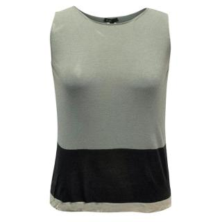 hLam Grey and Black Color Block Tank Top