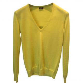 Joseph Lime Green Cashair V Neck Jumper