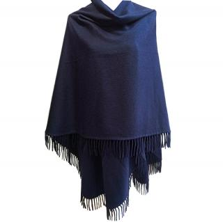 Loro Piana Blue Cashmere Fringed Cape Poncho Ultra