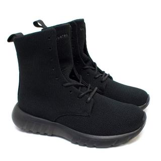 CU4TRO 'Ninja' Black Knit Boot Sneakers