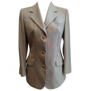 Loro Piana Beige Blue Brown Cashmere Square Gingham Blazer Jacket