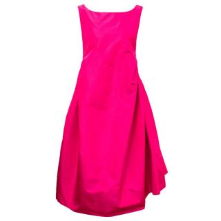 Rochas Ruched Fuchsia Faille Dress