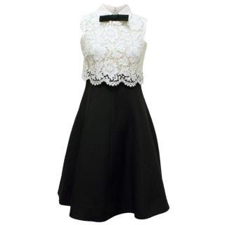 Valentino Spa White Lace and Black Dress