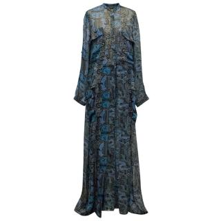 Maiyet Blue Printed Sheer Maxi Dress