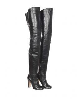 Prada Black Leather Thigh Boots