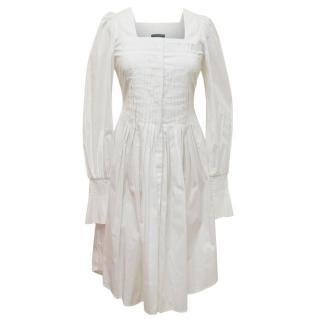 Alexander McQueen White Cotton Button Down Dress