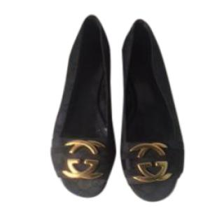 Gucci Girls Black Ballerina Pumps