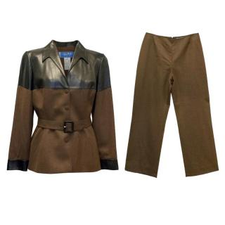 Thiery Mugler Black Leather and Brown Jacket and Pants