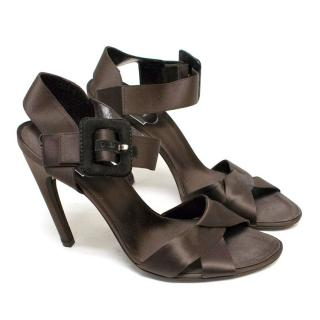 Roger Vivier Brown Satin Sandals