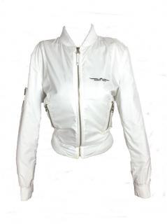 Armani White Zip Up Bomber