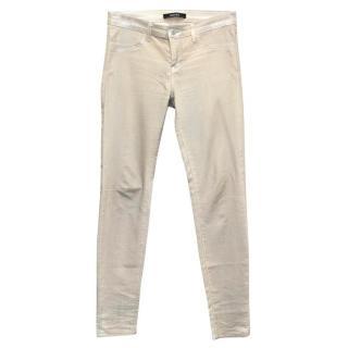 J Brand Beige Skinny Jeans with Metallic Silver Tinge
