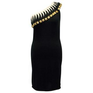 Temperley One - Shoulder Black Dress with Gold Details