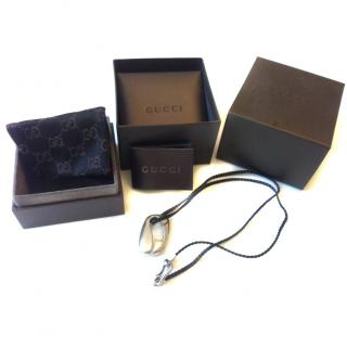 Gucci leather and silver necklace