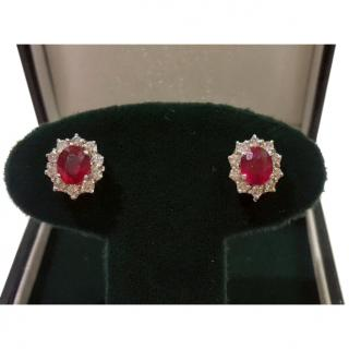 Diamond and Ruby Cluster Earrings 18ct Gold