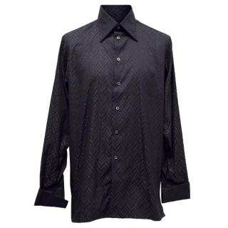 Richard James Patterned Navy Shirt
