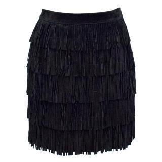 Kate Spade Black Fringed Mini Skirt