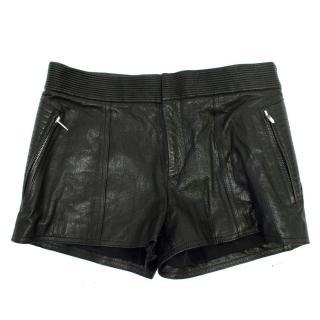 Theysken's Theory Black Paluccia Leather Shorts