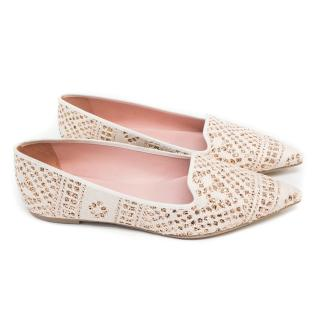 Pretty Loafers Cream And Gold Glitter Loafers