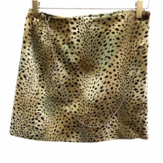 John Richmond Leopard Print Pony Hair Mini Skirt