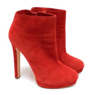 Alexander McQueen Red Suede High-Heeled Ankle Boots