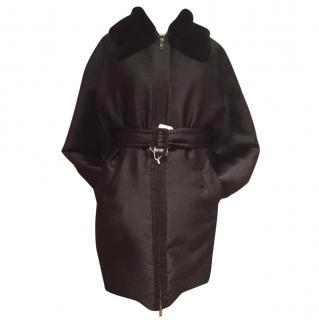 Sportmax by MaxMara Black Coat with Fur Collar