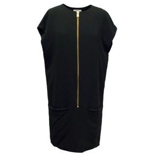 Celine Black Shift Dress with Gold Zip