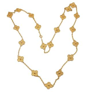 Van Cleef and Arpels Vintage Alhambra 20 Motif Gold Necklace