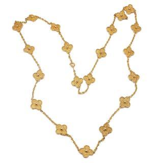 Van Cleef and Arpels Vintage Alhambra 20 Motif Gold Necklace