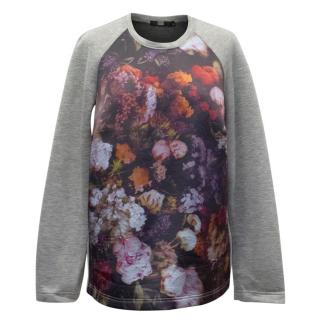 Markus Lupfer Grey Sweatshirt with Floral Front Panel