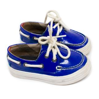 Burberry Kids Blue 'Reese' Boat Shoes