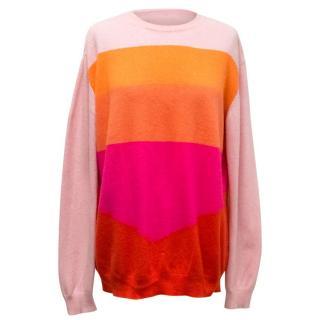 Stella McCartney Pink and Orange Striped Cashmere Jumper