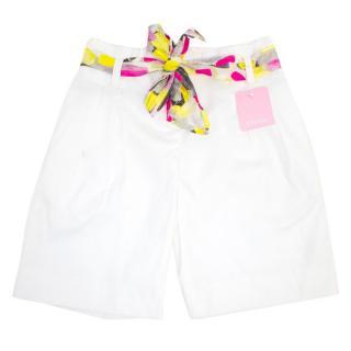 Escada White Girls Shorts with Tie Belt