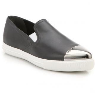 Miu Miu Black Pointed Slip On Sneakers