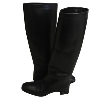 Dior Black Long Flat Boots