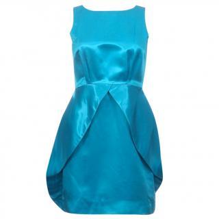 Alice + Olivia Blue Satin Silk Tulip Dress
